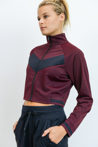 Chevron Front Contrast Tricot Crop Jacket in Burgundy | Allure Apparel Co