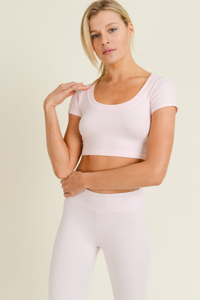 Seamless Scoop Neck Crop Athleisure Top in Light Pink | Allure Apparel Co