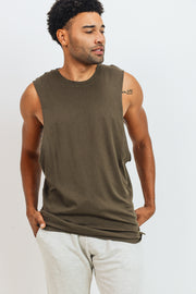 Essential Cotton-Blend Jersey Muscle Shirt in Olive | Allure Apparel Co