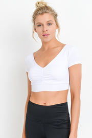 Deep V Gathered Front Crop Top in White | Allure Apparel Co