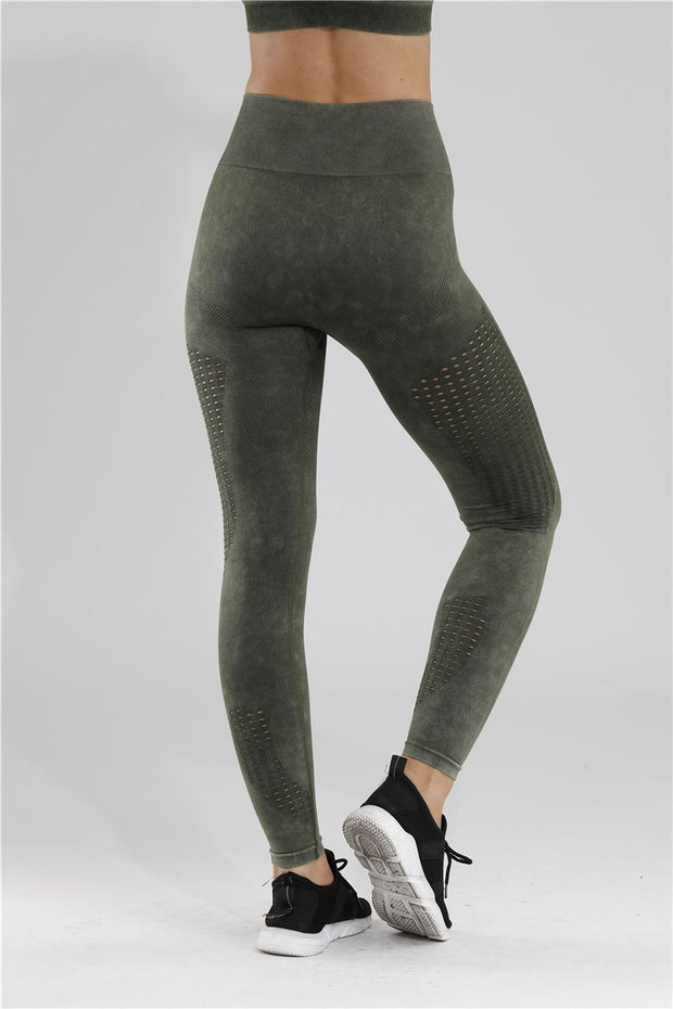 Velour Mesh Seamless Yoga Leggings in Army Green | Allure Apparel Co