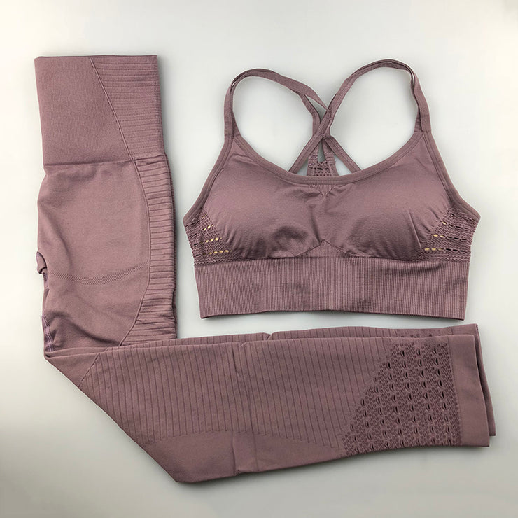 Women's Seamless Set - High Waisted Seamless Leggings & Seamless Padded Push-up Sports Bra in Pastel Purple | Allure Apparel Co