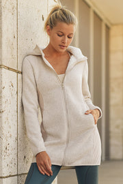 Longline Hoodie Jacket with Block Panel and Inner Sherpa in Natural | Allure Apparel Co