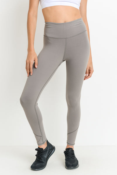 Premium Performance High Waisted Solid Leggings in Medium Grey | Allure Apparel Co