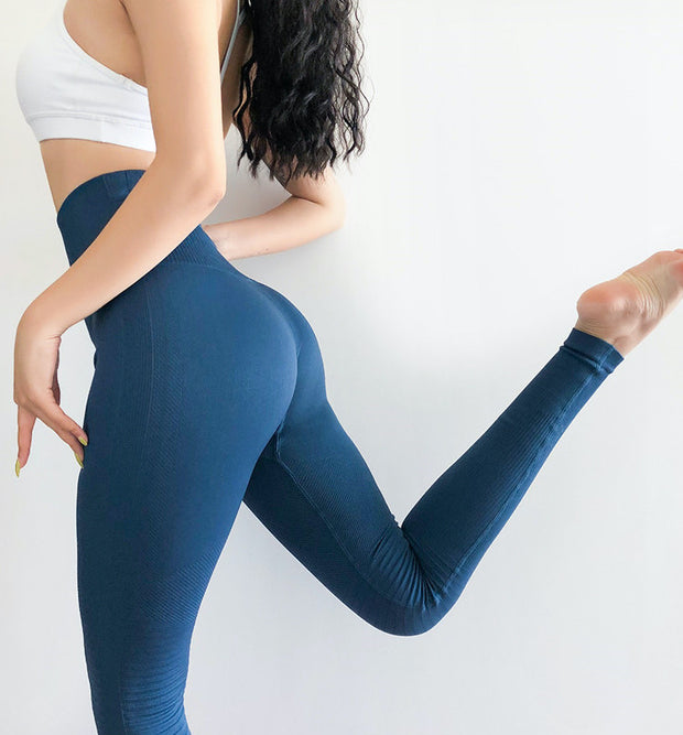 High Waisted Seamless Ribbed Yoga Leggings in Dark Imperial Blue | Allure Apparel Co