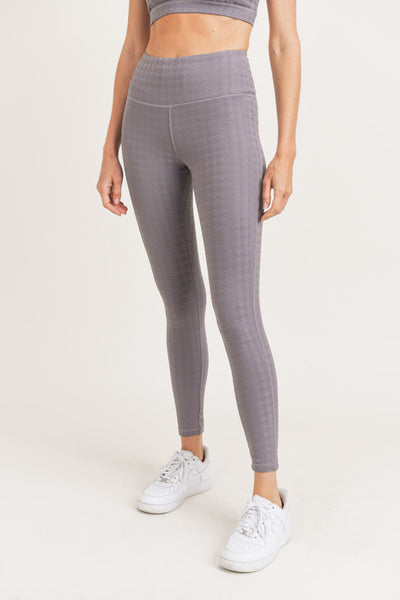 High Waisted Houndstooth Jacquard Leggings in Plum Grey | Allure Apparel Co