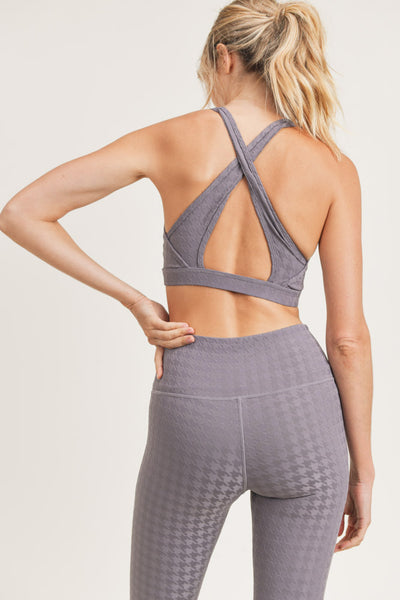 Houndstooth Jacquard X-Back Sports Bra in Plum Grey | Allure Apparel Co