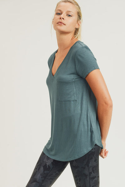 Longline Deep V-Neck Pocket Shirt in Deja Vu Green | Allure Apparel Co