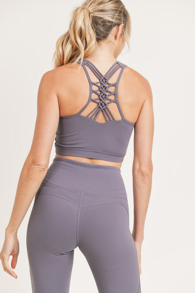 Racer Dragon Braid Sports Bra in Plum Grey | Allure Apparel Co