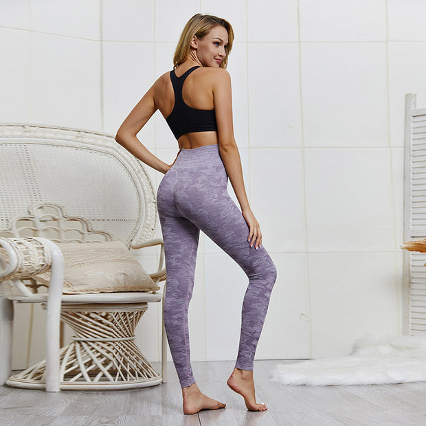 High Waisted Breathable Camo Leggings in Purple | Allure Apparel Co