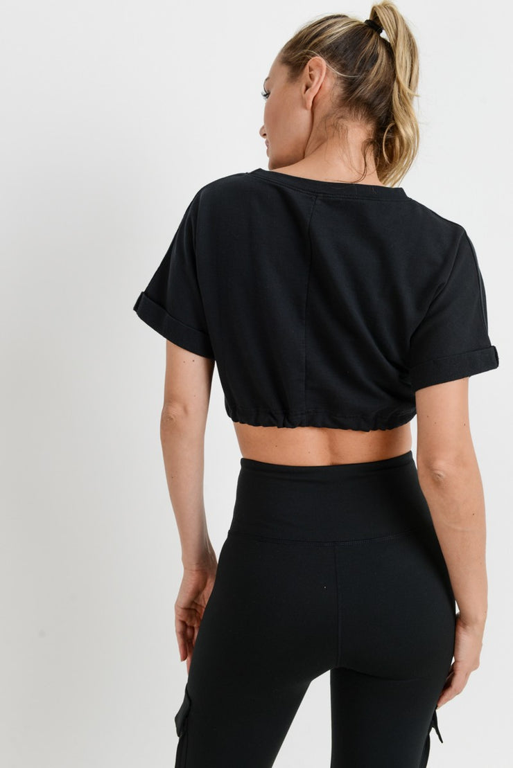 Drawstring Garment-Dyed Crop Top in Black | Allure Apparel Co