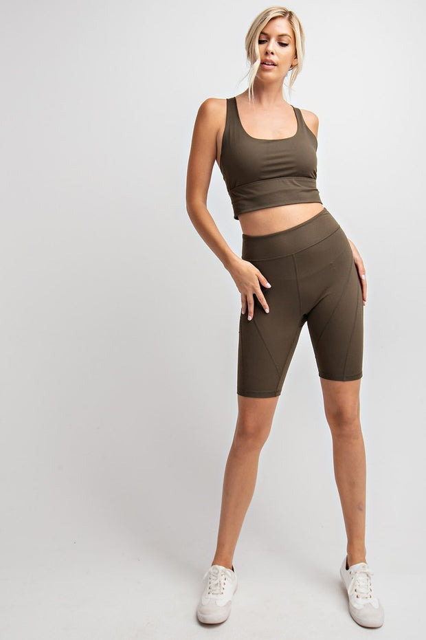 Detailed High-Rise Butter Biker Shorts in Olive | Allure Apparel Co