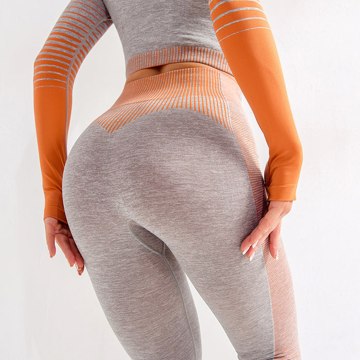 High Waisted Seamless Stretch Bold Stripe Leggings in Heather Grey with Orange Accents/Stripes | Allure Apparel Co