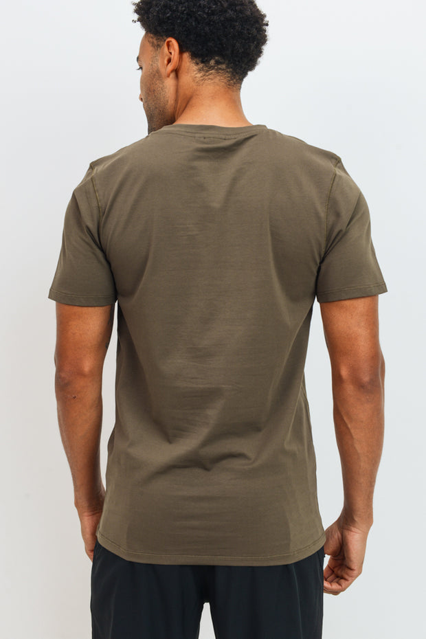 Cool Touch Cotton Blend Crewneck Essential Active Shirt in Olive | Allure Apparel Co