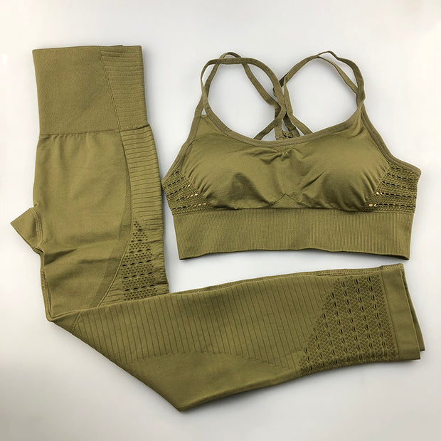Women's Seamless Set - High Waisted Seamless Leggings & Seamless Padded Push-up Sports Bra in Army Green | Allure Apparel Co