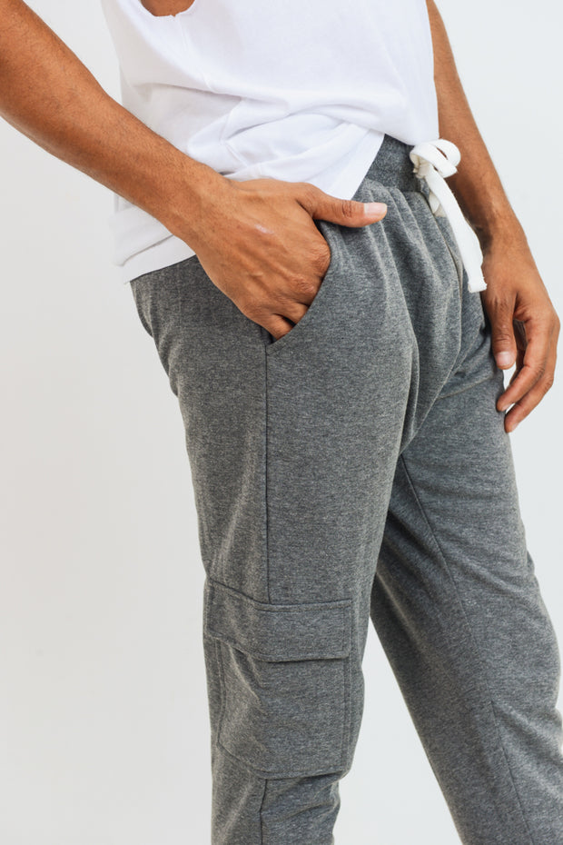 Cotton Terry Blend Cargo Joggers in Grey | Allure Apparel Co