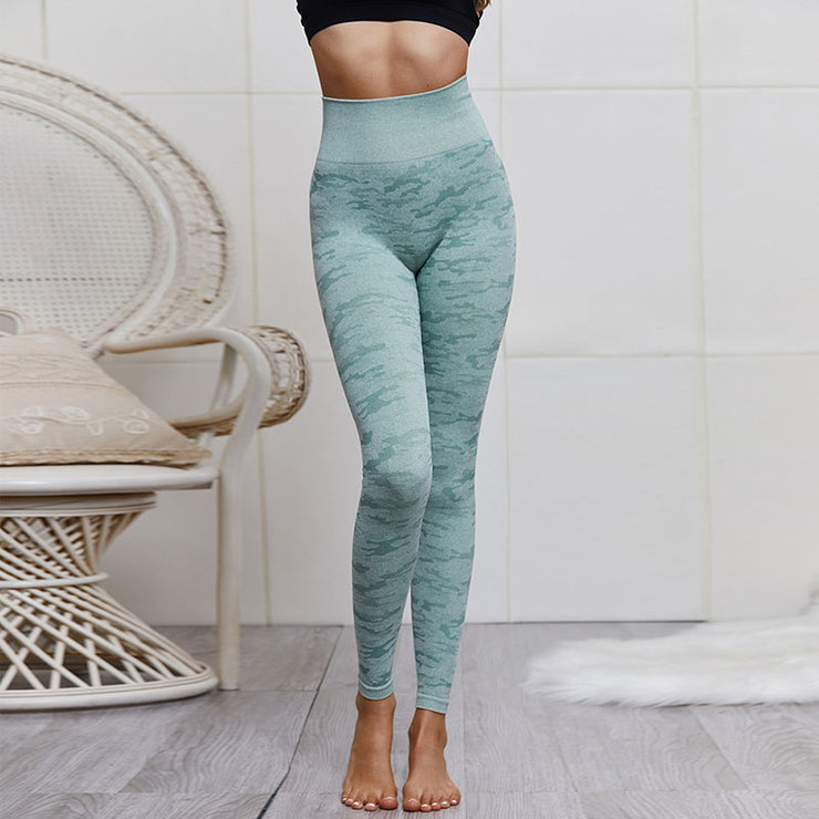 High Waisted Breathable Camo Leggings in Green | Allure Apparel Co
