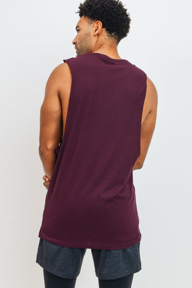 Essential Cotton-Blend Jersey Muscle Shirt in Burgundy | Allure Apparel Co