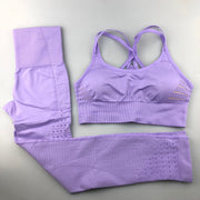 Women's Seamless Set - High Waisted Seamless Leggings & Seamless Padded Push-up Sports Bra in Purple | Allure Apparel Co