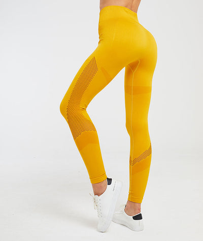 High Waist Seamless Moon Hollow Yoga Fitness Leggings in Yellow | Allure Apparel Co