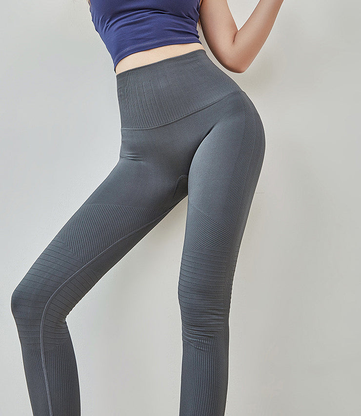 High Waisted Seamless Ribbed Yoga Leggings in Cadet Grey | Allure Apparel Co