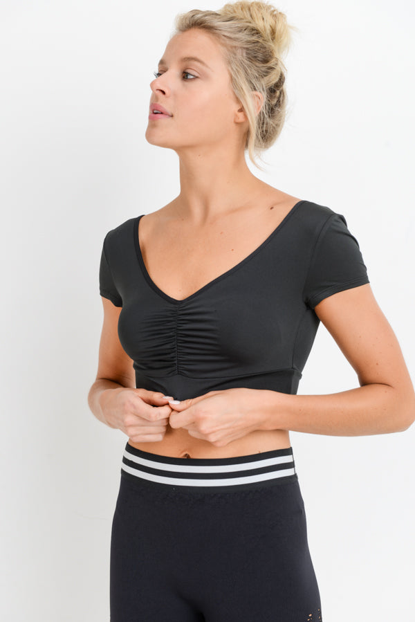 Deep V Gathered Front Crop Top in Black | Allure Apparel Co