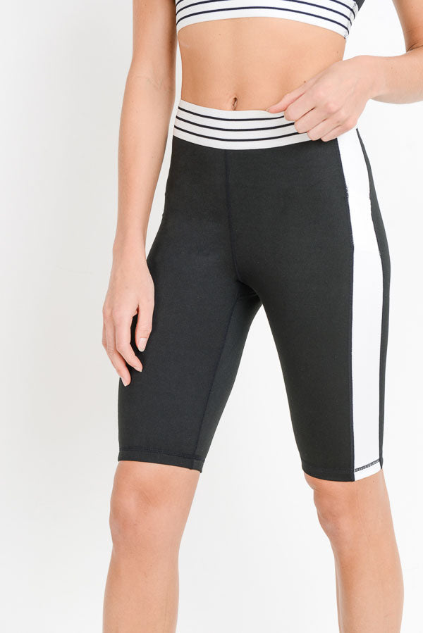 High Waisted Color Block Striped Active Shorts | Allure Apparel Co