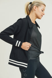 Honeycomb Quilted Varsity Active Jacket in Black | Allure Apparel Co