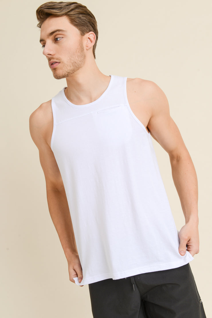 Supima Blend Tank Top with Pocket in White | Allure Apparel Co