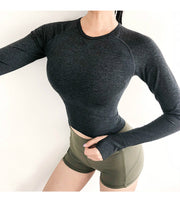Energy Scoop Neck Seamless Long Sleeve Crop Top in Black | Allure Apparel Co