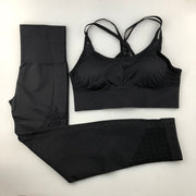 Women's Seamless Set - High Waisted Seamless Leggings & Seamless Padded Push-up Sports Bra in Black | Allure Apparel Co