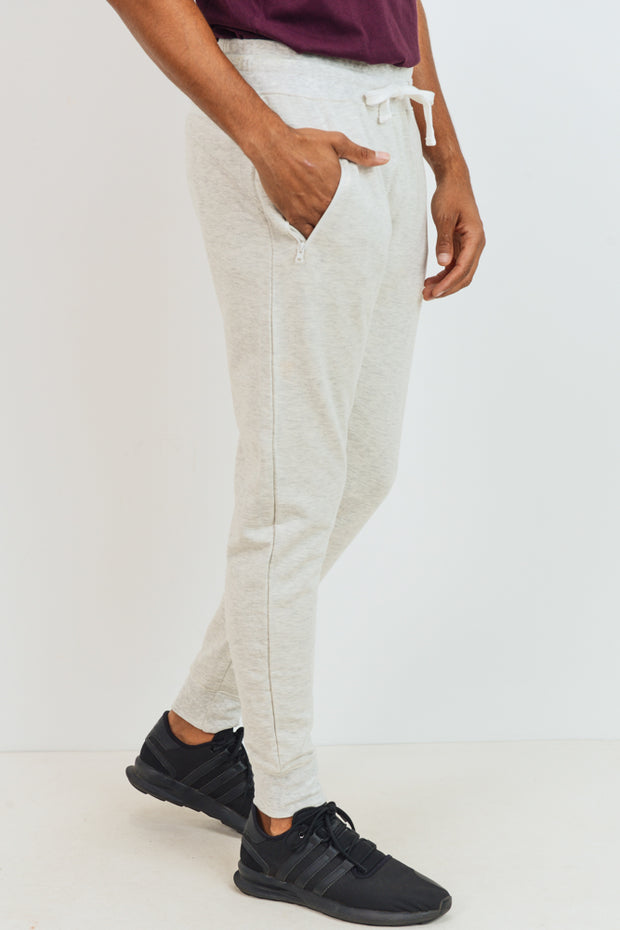 Fleece Sweatpants with Zippered Pockets in Natural | Allure Apparel Co