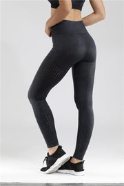 Velour Mesh Seamless Yoga Leggings in Black | Allure Apparel Co