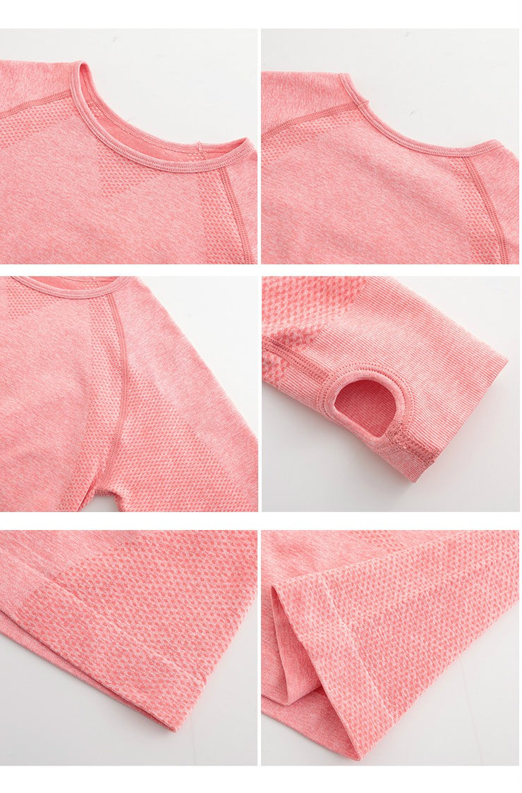 Energy Scoop Neck Seamless Long Sleeve Crop Top in Pink | Allure Apparel Co