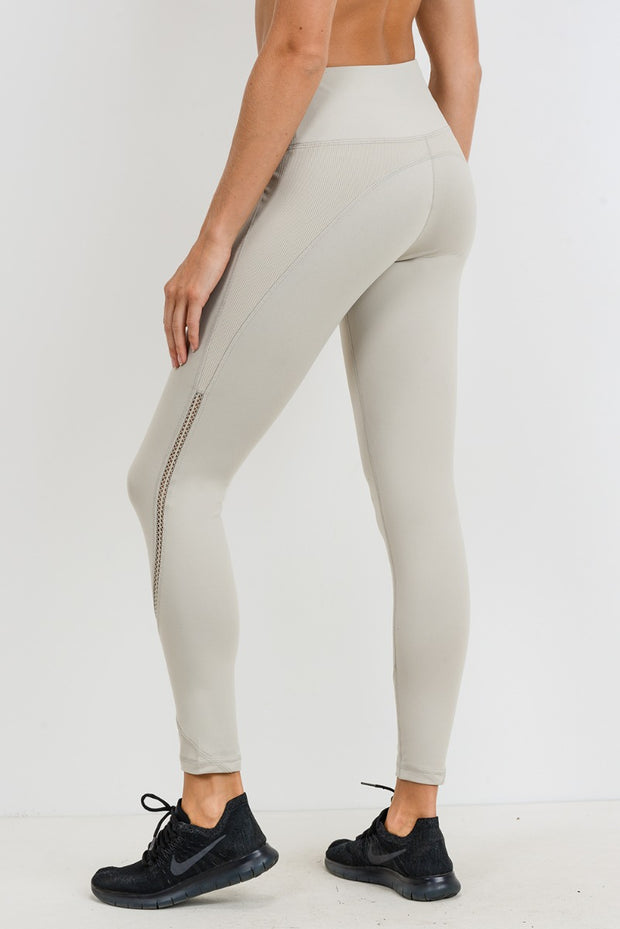 Ribbed & Smooth Zig-Zag Wraparound Perforated High Waisted Leggings in Sand | Allure Apparel Co