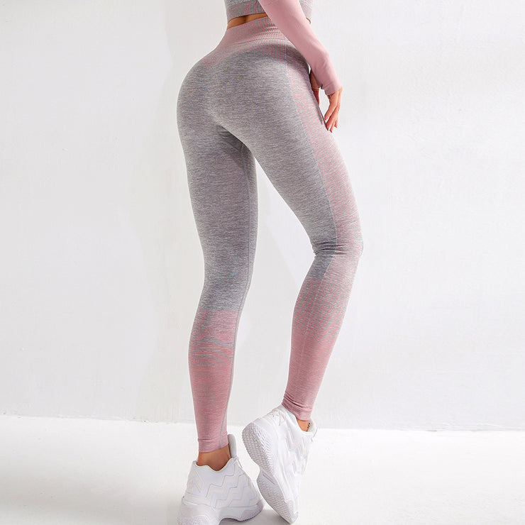 High Waisted Seamless Stretch Bold Stripe Leggings in Heather Grey with Pink Accents/Stripes | Allure Apparel Co