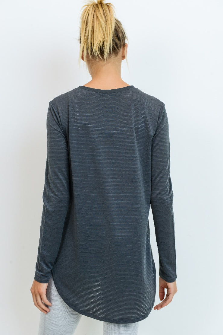 Ribbed Mesh Long Sleeve Flow Top with Side Slits | Allure Apparel Co