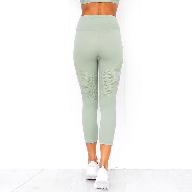 Satin Mint Mesh Sportswear Leggings and Sports Bra Combo Set