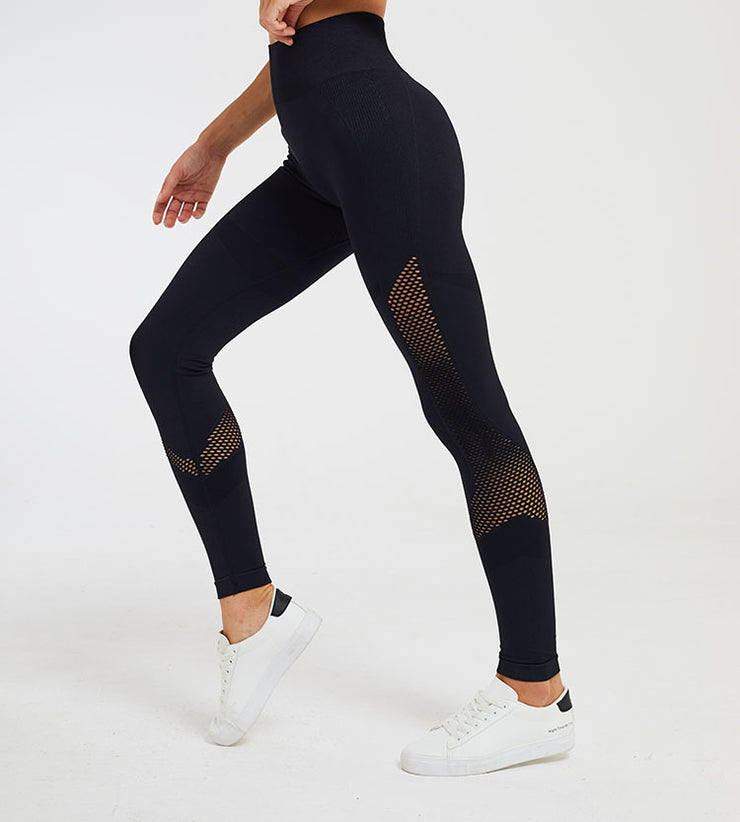 High Waist Seamless Moon Hollow Yoga Fitness Leggings in Black | Allure Apparel Co