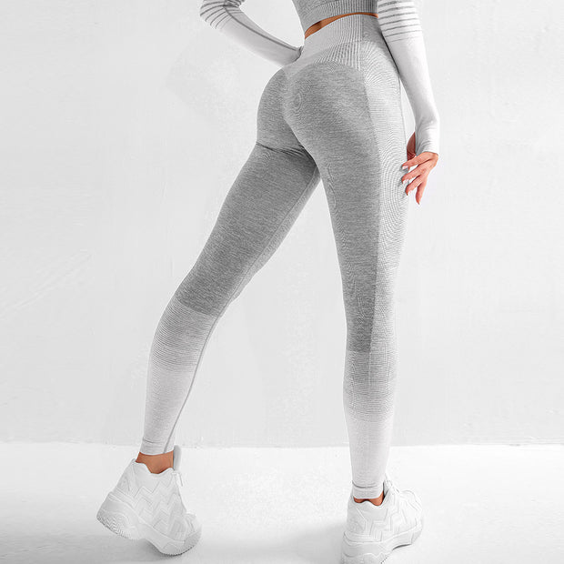 High Waisted Seamless Stretch Bold Stripe Leggings in Heather Grey with White Accents/Stripes | Allure Apparel Co