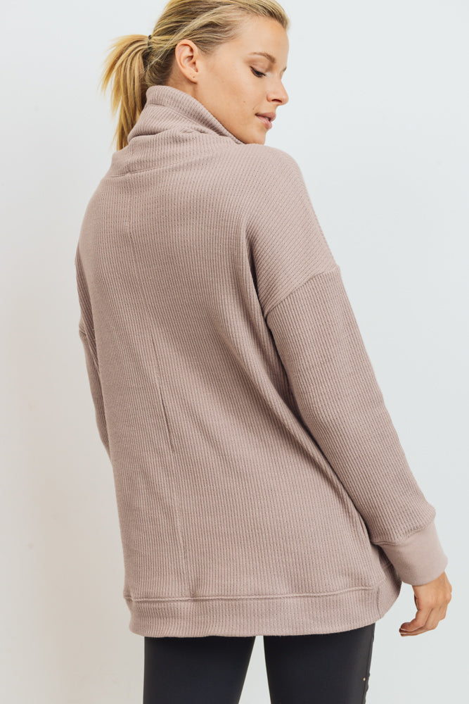 Cowl Neck Overlay Waffle Sweater in Almond | Allure Apparel Co