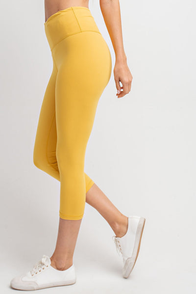 High Waisted Capri Essential Yoga Leggings in Mustard | Allure Apparel Co