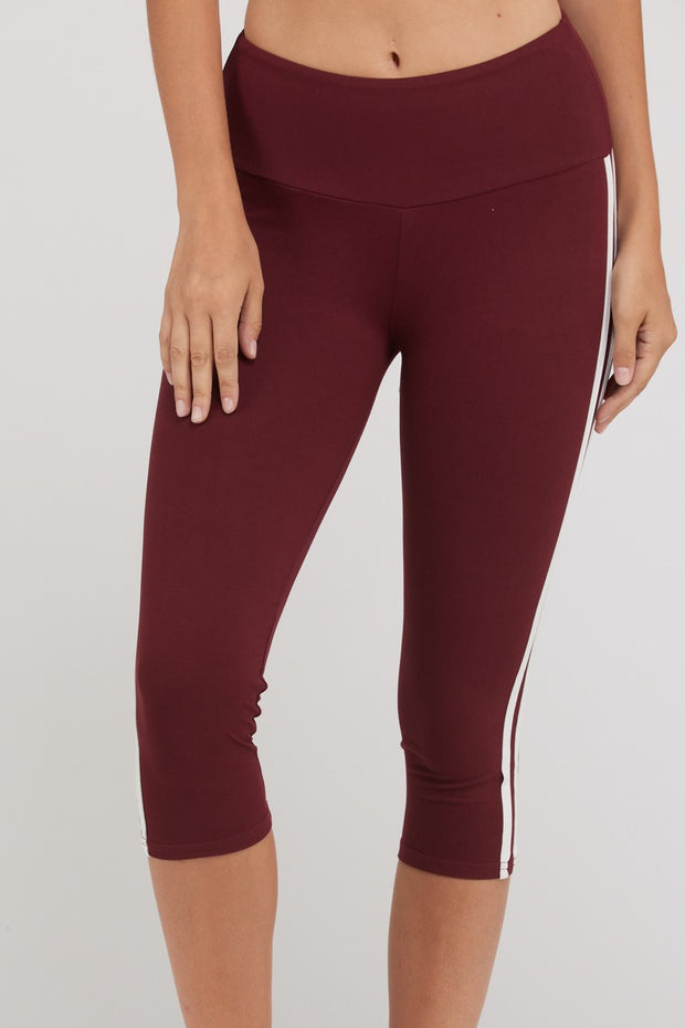 Side Stripe Capri-Length Active Leggings in Burgundy | Allure Apparel Co