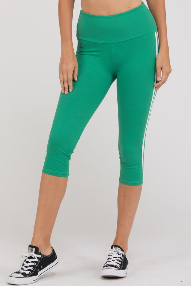 Side Stripe Capri-Length Active Leggings in Green | Allure Apparel Co