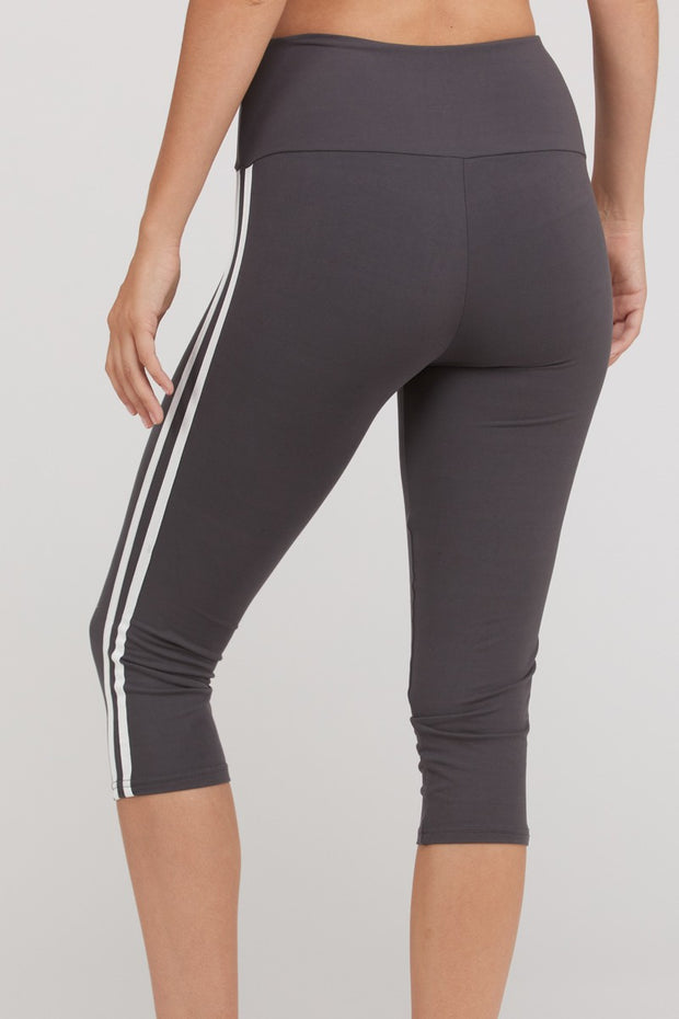 Side Stripe Capri-Length Active Leggings in Charcoal | Allure Apparel Co