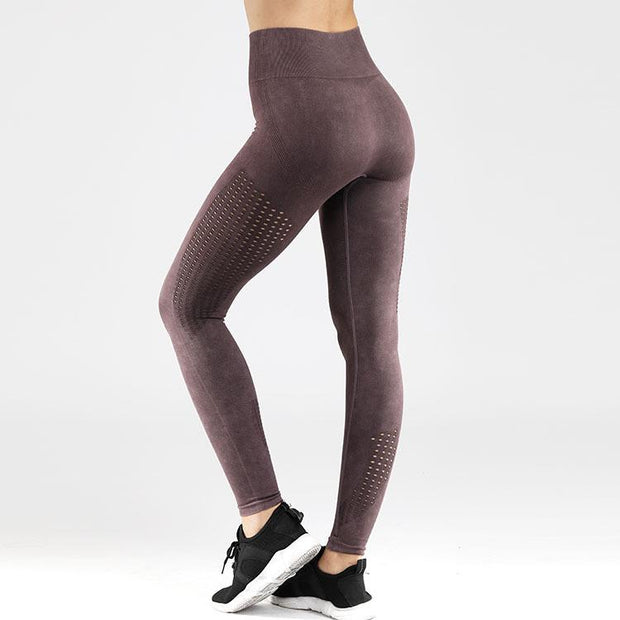 Velour Mesh Seamless Yoga Leggings in Purple | Allure Apparel Co