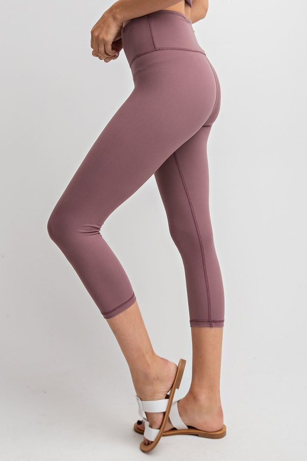 High Waisted Capri Essential Yoga Leggings in Dark Mauve | Allure Apparel Co