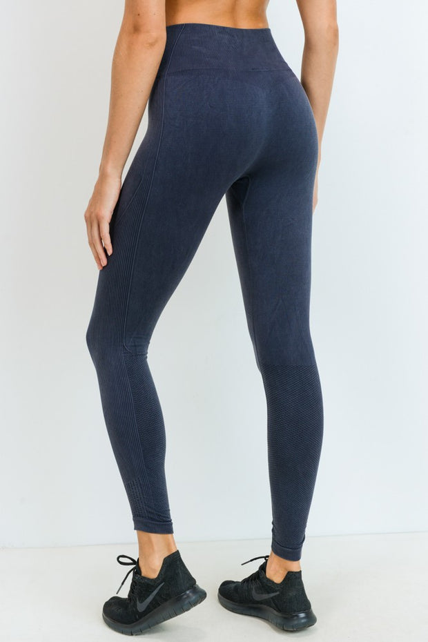 Ribbed & Dotted Seamless High Waisted Leggings in Black | Allure Apparel Co