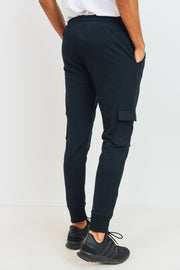 Cotton Terry Blend Cargo Joggers in Black | Allure Apparel Co