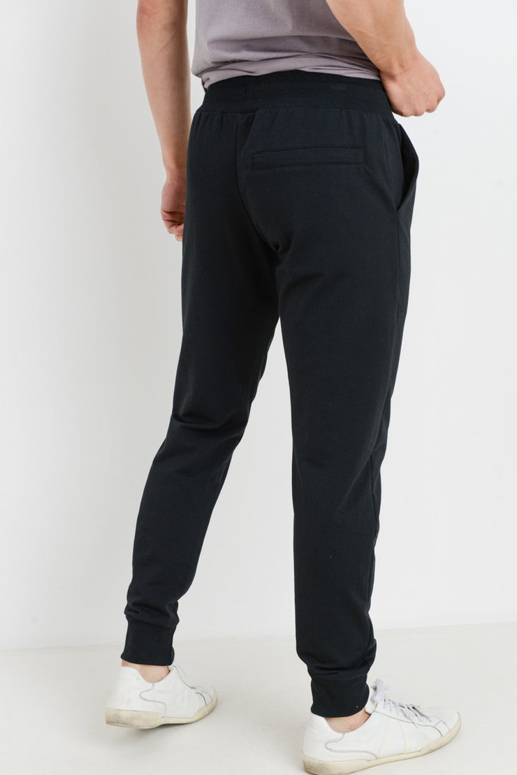 Essential Drawstring Terry Joggers in Black | Allure Apparel Co